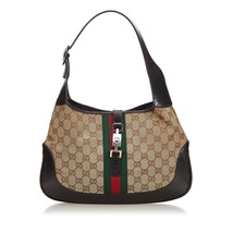 Pre-Loved Gucci Brown Beige Canvas Fabric GG Web Jackie Shoulder Bag Italy - $433.84