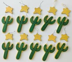 10 Hand Painted Wood Christmas Holiday Ornaments Southwest Saguaro Cactu... - $19.34