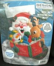 "Santa Reading Storybook Rudolph xmas Felt Stocking Kit 16"" Design Works 5028 - $14.84"