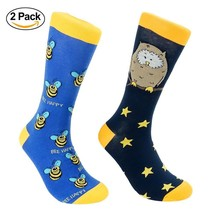 Bee & Owl Dress Socks for Men - Blue & Navy - Cotton - (2 Pairs) - $16.72