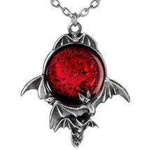 Blood Red Moon Pendant Skein of Flying Bats Alchemy Gothic P447 Pewter N... - $39.95