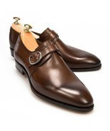 Monk Style Dark Brown Color Pointed Toe Buckle Closer Handmade Men Leath... - $190.33 CAD+