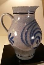 Blue Grey Salt Glazed 2L Pitcher 3061 West Germany~ Signed Marzi Remy Vintage - $18.85