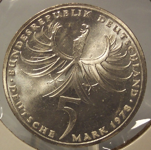 Primary image for KM# 148 1978-F Silver Proof West German 5 Mark Balthasar Neumann #0497