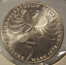 KM# 148 1978-F Silver Proof West German 5 Mark Balthasar Neumann #0497 - $12.99