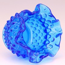Vintage Fenton Art Glass Colonial Blue Hobnail Small Rose Bowl image 2
