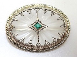 14K Gold Art Deco Crystal Quartz Brooch (#110) - $470.25