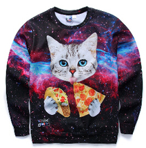 Harajuku pullover men/women cat with blue eyes eating tacos pizza in space  - $29.90