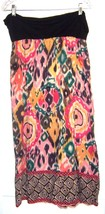 Sz M - Angie Multicolor Batik look Skirt w/Black Rolled Waistband - $18.99