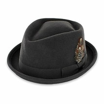 Belfry Crushable Porkpie Fedora Hat Men's Vintage Style 100% Pure Wool i... - $63.93