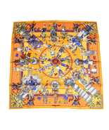 Hermes Scarf Kachina by Kermit Oliver Silk 90 cm Orange Yellow NEW RA28 - $498.00