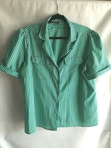 VTG ACT III Women's Blouse Size 20 Striped Turquoise Green White Career ... - $7.24