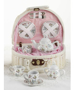 Delton Products Porcelain Pink Butterfly Tea Set for Two in White Basket... - £32.18 GBP