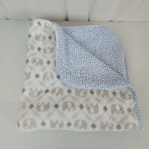 Blankets & and Beyond Baby White Cream Gray Silver Blue Elephant Sherpa ... - $49.49