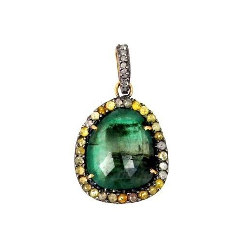 Primary image for Emerald Gemstone Sterling Silver 1.1ct Color Diamond Pave 14k Gold Charm Pendant