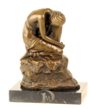 Antique Home Decor Bronze Sculpture shows abstract dreamy woman, signed*Free Air - $229.00