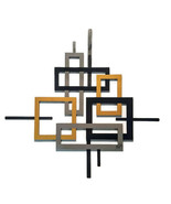 Contemporary Geometric open Square wood with Metal Wall Sculpture, Wall ... - $128.69