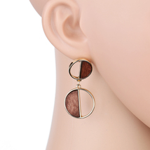 UE- Fun & Flirty Chocolate Brown & Gold Tone Contemporary Dangling Earrings - $13.99