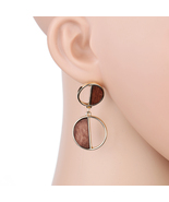 UE- Fun & Flirty Chocolate Brown & Gold Tone Contemporary Dangling Earrings - $13.99