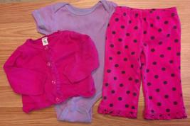 Girl's Size 6 M 3-6 Months 3 Piece Pink Carter's Cardigan, Polka Dot Pan... - $10.00