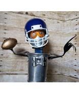 Found Object Folk Art Robot Football Player QB Pass Sculpture - signed S... - $275.20