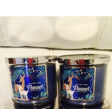2 Bath & Body Works Flannel 14.5 OZ 3 Wick Large Candle - $34.60