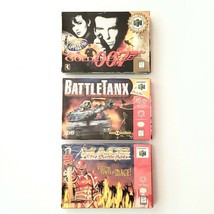 Nintendo 64 Lot of 3 Goldeneye 007 Mace Dark Age Battle Tank with Instru... - $87.54