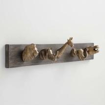 Whimsical African Animal Safari 5-Hook Wall Mount Coat Towel Rack ~ Wood... - $55.73