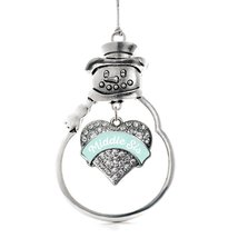 Inspired Silver Mint Middle Sister Pave Heart Snowman Holiday Christmas Tree Orn - $14.69
