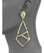 "ALEXIS BITTAR GOLD Mosaic Crystal CLIP-on DROP EARRINGS 4"" w/POUCH- GREA... - $158.94"
