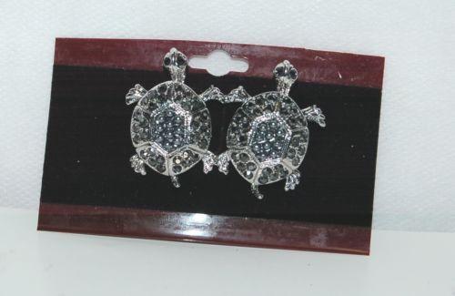 Generic Two Silver Color Black Rhinestone Turtle Brooch