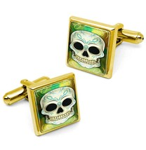 Gold Pinstriped Day of the Dead Sugar Skull Glass Rockabilly Cufflink Se... - $32.39