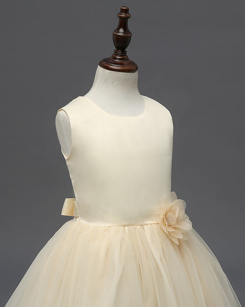 Cute Frist Communion Dress Scoop Flower Girls Dresses Floral Summer Party Gowns  image 2