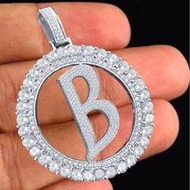 "14k White Gold Over 925 Silver Initial Letter ""B"" Pendant Round Cut Sim Diamond - $144.90"