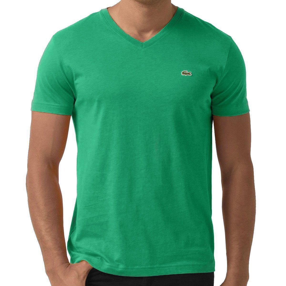 NEW LACOSTE MEN'S PREMIUM PIMA COTTON V-NECK SHIRT T-SHIRT CHLOROPHYLL GREEN