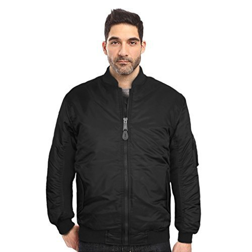 Maximos USA Men's Padded Water Resistant Reversible Flight Bomber Jacket (XS, Bl