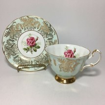 Paragon Red Rose Teacup And Saucer Gold By Appointment Bone China England Cup - $128.65