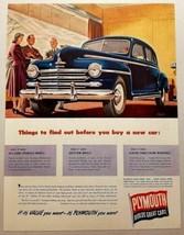 1948 Print Ad Plymouth 4-Door Car in Dealers Showroom Salesman & Customers - $12.80