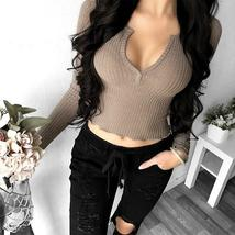 2018 Spring Sexy Women Deep V Neck Long Sleeve Slim Fit Crop Tops Casual Party C image 5