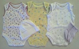 Lot of 7 Girl's Size NB Newborn 3 NWOT Tops 3 Caps & Socks  Butterfly Ch... - $10.00