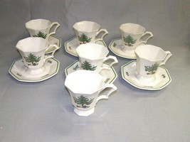 Nikko Christmastime 8 Footed Cups & 7 Saucers Octagon Shaped Very Good Condition - $31.68