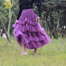 Fuchsia Tiered Skirt Outfit Full Long Tiered Tulle Skirt Princess Outfit Custom  image 2