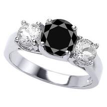 2.59CT Mujer Único 14K Wg 3 Piedras Negro Zafiro Anillo de Compromiso Ta... - £260.68 GBP