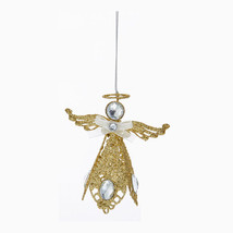 KURT S. ADLER GOLD GLITTER METAL FILIGREE ANGEL W/ GEMSTONES CHRISTMAS O... - $7.88