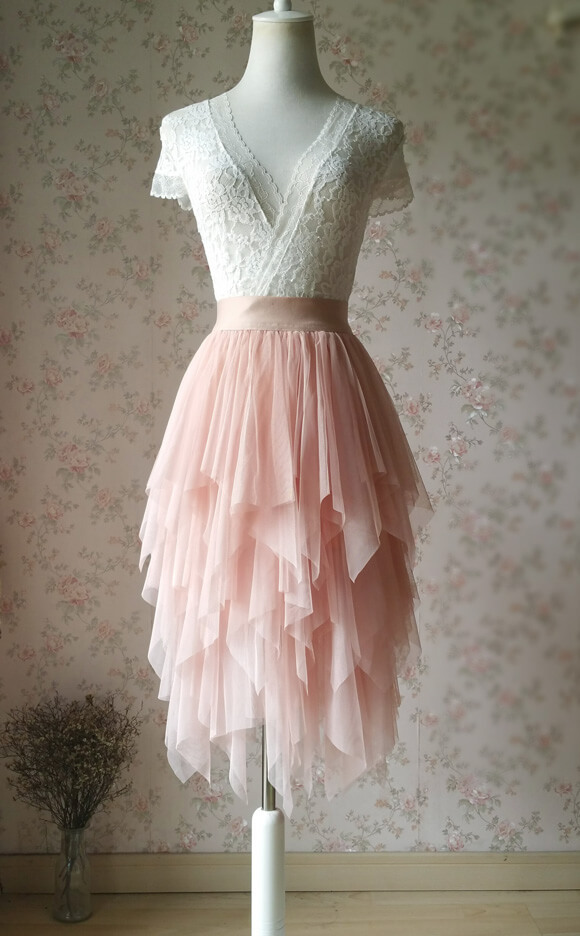 Layered Midi Tulle Skirt Blush Pink Ballerina Tulle Skirt Blush Party Midi Skirt