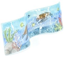 Fused Art Glass Sea Turtles & Fish Underwater Wavy Sun Catcher Handmade Ecuador image 5
