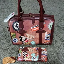 Patch Mickey Mouse Donald Vintage Boston Bag & Wallet Set hand Brown lea... - $155.43