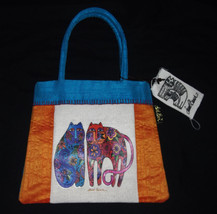 Laurel Burch Small Orange Teal Cats Feline Print Cotton Silk Mini Tote H... - $12.73