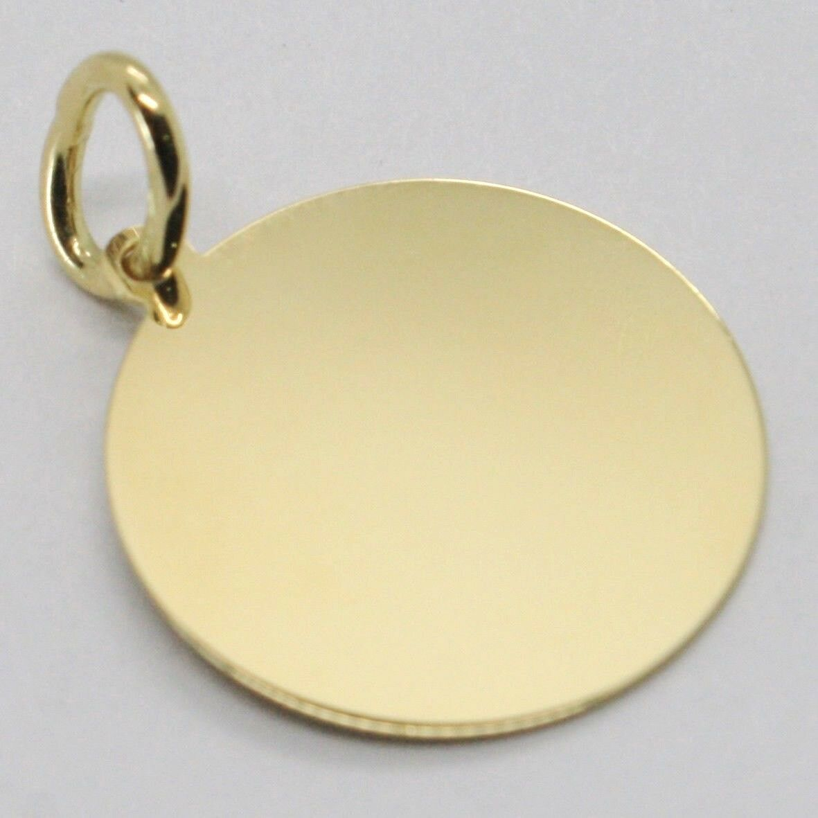Yellow Gold Pendant 750 18K, Globe Flat, Satin, 16 mm, Italy Made image 4
