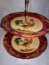 Rooster 2 Tier Ceramic Tidbit Snack Canape Tower Plate Orange Gold - $14.84